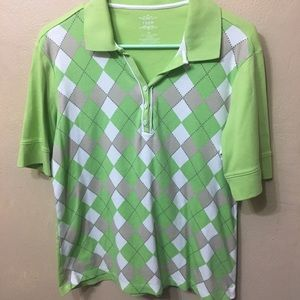 Izod Bright Green Argyle Polo Shirt